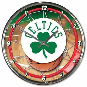 NBA - Boston Celtics - New Chrome Round Wall Clock  12 Inches Diameter