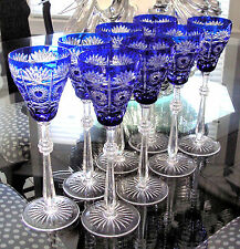 """8 FABERGE CZAR BELLAGIO COBALT BLUE CASED CUT TO CLEAR 11""""  WINE WATER GOBLETS"""