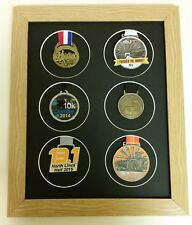 Multi Medal Frame for 6 Sports or Running Medals Oak Finish