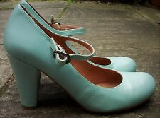 TOP SHOP Duck Egg Blue 100% Leather Mary Jane Style High Business Shoes Size 6