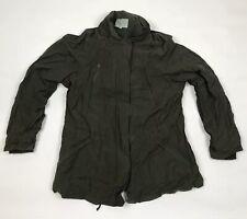 Jigsaw Khaki Green Coat Womens Small Hooded Cotton Nylon Midweight