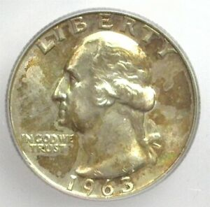 1963-D WASHINGTON SILVER 25 CENTS ICG MS 66+ LISTS FOR $175!!