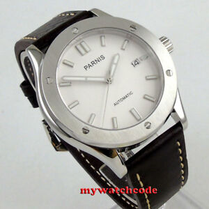 42mm PARNIS white dial Sapphire glass 24 jewels Japan NH35A automatic mens watch