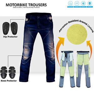 Mens Motorcycle Armoured Jeans Denim Motorbike Pants Reinforced Biker Trousers