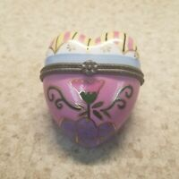 Vintage Porcelain Hand Painted Heart Shaped Hinged Trinket Box