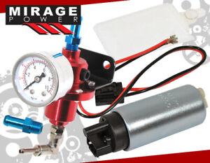 Automotive Car Low Pressure 255Lph Electric Pump + Fuel Pressure Regulator Red
