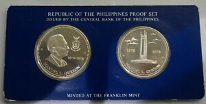 PHILIPPINES 25 & 50 Piso 1978 Silver Proof Set KM PS13 Brith of Quezon