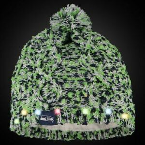 Seattle Seahawks Chunky Knit Light Up Logo Beanie Winter Hat Toque Pom Women's