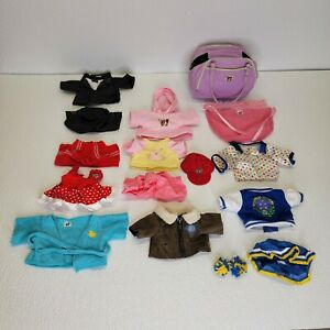 Webkinz Clothes Lot 15 Pieces Assorted with bag -flight jacket, dress, suit, etc