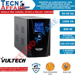 Gruppo Di Continuità UPS Online Onda Sinusoidale Pura 1000VA 800W Stabilizzatore