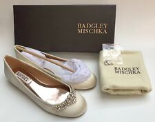 BADGLEY MISCHKA WENDY Embellished Ballet Flats Shoes in Ivory Sz:8.5 R$185 NIB