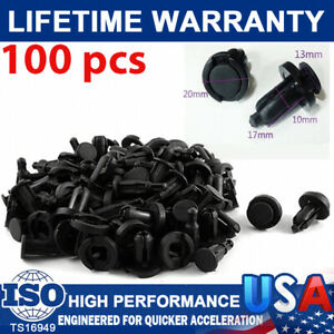 100X Bumper Clips 10mm Hood Fender Push Screw Rivet Retainer Fasteners For Honda