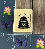Stampin' Up! Bumble Bee Hive Rubber Stamp 2002 Love Heart Wood Mount #N13