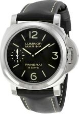 PAM00510 Panerai Mens Luminox Marina Black Dial Black Leather Watch 44mm