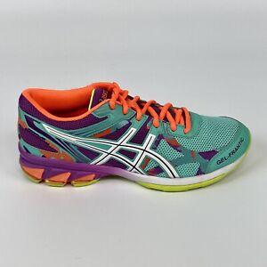 Asics Womens Size 6.5 Gel Frantic 8 Teal Purple Neon Orange Running Shoes T57BQ