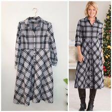 APPLESEEDS Women's 12 Gray Black Plaid Flannel Shirt Dress! Buttons Midi