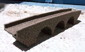 MODEL RAILROAD TRIPLE ARCH STONE BRIDGE LASER ENGRAVED N GAUGE N SCALE
