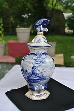 Vintage Early 19th Century Delft Foo Bird Porceleyne Garniture Urn With Lid