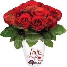28cm MINI ROSE VASE WITH LOVE FOIL BALLOON RED ROSES VALENTINES ENGAGEMENT