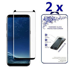 2X For Samsung Galaxy S9 3D Full Cover Tempered Glass Screen Protector -Black