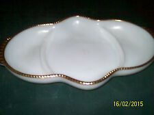 Christmas Table  Use!  White w/Gold Colored Trim Fire King 3 Section Relish Tray