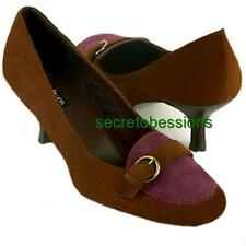 Sz 7.5 M STYLE & CO Gina Pony Brown Womens Suede Kitten Heel Pump Shoes NEW $59