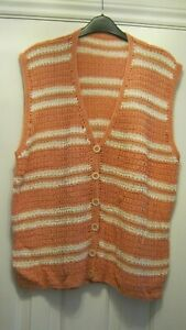 Coral and White Sleeveless Cardigan Waistcoat Knitted bnwot