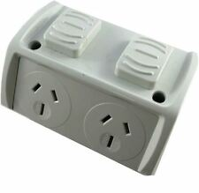Omega Weatherproof Double GPO Power Point Powerpoints Outlet 10 Amp 10A