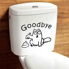 Cute Cat Say Goodbye Vinyl Toilet Wall Stickers Decal Bathroom Home Decortion
