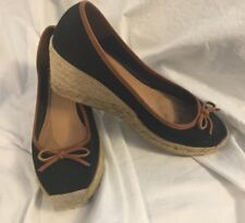 Coach Shoes, Size 10, Espadrilles, Wedge Heel, Black Canvas, Emblem on Toe