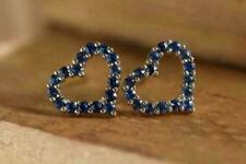 2.00Ct Round Cut Blue Sapphire Diamond Stud Heart Earrings 14K Yellow Gold FN