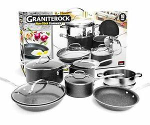 Granite Rock 10 Piece Nonstick Ultra Durable Complete Cookware Set -NEW
