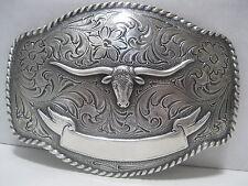 Cowboy Western Belt Buckle #435 - Silver Plated - Texas Longhorn