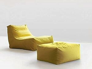 Bean Bags cover with mudda cover Sofa XXXL Without Beans Yellow Faux Leather