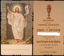 ESTAMPA PRIMERA COMUNION PARROQUIA SAN SEBASTIAN MADRID AÑO 1933 HOLY CARD CC428