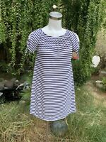 WEST LOOP Women's Black White Striped Tunic Top Shirt / Short Dress Sz L