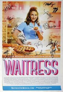 WAITRESS Partial Cast Christopher Fitzgerald, Jessie Mueller Signed Poster