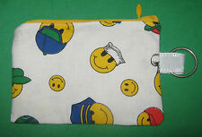 """""""SMILEY FACE"""" Coin Purse w/ Key Ring-Handmade"""