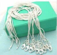 10 Stück Halskette 925 silber Schlange Kette 1 mm Damen Halskette Geschenk Neu.
