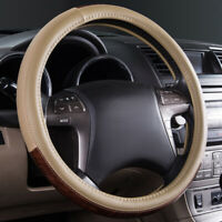 Universal Car Steering Wheel Cover Anti-slip Leather Beige Wood Grain 37 38 cm