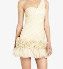 New $428 BCBG Maxazria Barbie  One Shoulder Tulle Rosette B1644 Dress Sz 10