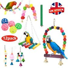 More details for 12 pack parrot set toys metal rope small ladder stand budgie cockatiel cage bird