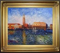 Framed, Renoir's Doges Palace, Venice Repro. Hand Painted Oil Painting 24x30in