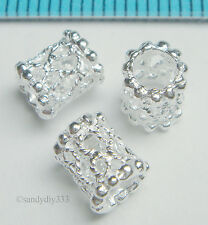 8x BRIGHT STERLING SILVER FILIGREE TUBE SPACER BEADS 6mm x 5mm N260
