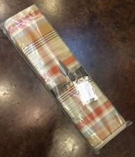 NIP Pottery Barn Fall PUMPKIN PLAID Cotton Table Runner 18 x 108""
