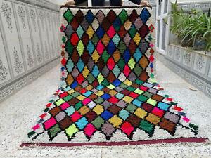 Handmade Moroccan Vintage Berber Rug Azilal Rug Beni Ourain Tribal Carpet