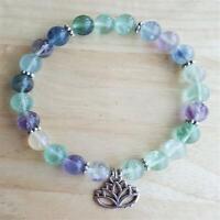 8mm Natural Fluorite Rainbow Handmade Mala Bracelet Chakas Buddhism Meditation