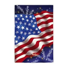 Flying Proud Patriotic USA Stars & Stripes Fireworks Suede Holiday Large Flag