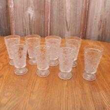 8 Clear Glass Diamond Pattern Goblets Wine Glass