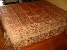 ANTIQUE QUILT COVERLET BEDSPREAD SILK FLOWERS 1940s